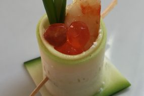 Tiger Prawn Stuffed Zucchini, Shallot Cream Cheese, Chive, Roe