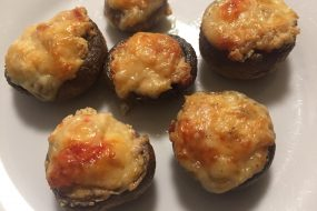Chevre and Roasted Red Pepper Stuffed Mushrooms