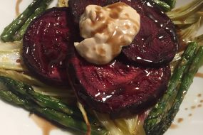 Roasted Beet, Fennel and Asparagus Salad with Chevre Pomegranate Mayo